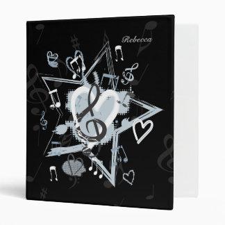 Personalized Musical Star notes designer pattern Binder