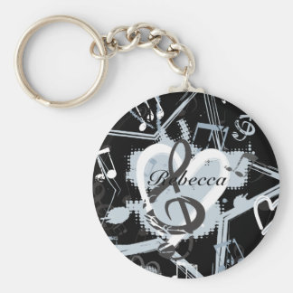 Personalized Musical Star notes designer pattern Keychains