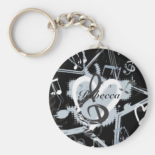 Personalized Musical Star notes designer pattern Keychain