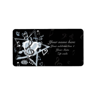 Personalized Musical Star notes designer pattern Label