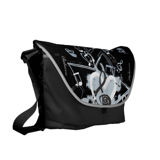 Personalized Musical Star notes designer pattern Messenger Bag