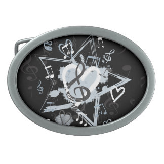 Personalized Musical Star notes designer pattern Oval Belt Buckle