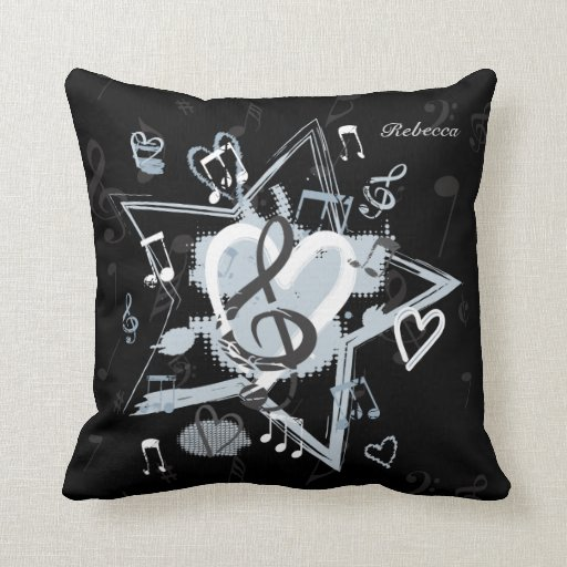Personalized Musical Star notes designer pattern Throw Pillow