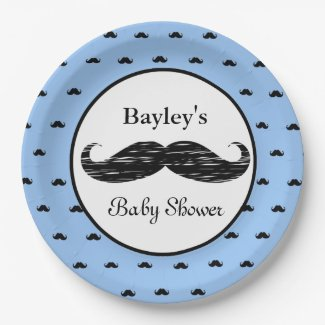 Personalized Mustache Baby Shower Paper Plates