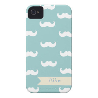 Personalized Mustache Pattern on blue grey iPhone 4 Covers