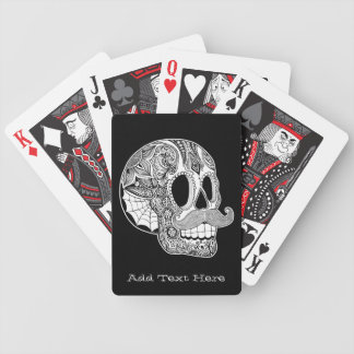 Personalized Mustache Sugar Skull Playing Cards