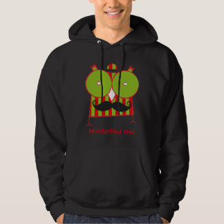 Personalized Mustached Owl Hooded Sweatshirt