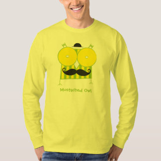 Personalized Mustached Owl Long Sleeve T-Shirt