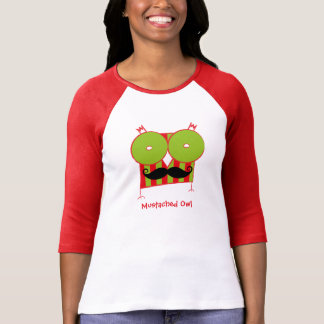 Personalized  Mustached Owl Sleeve Raglan T-Shirt