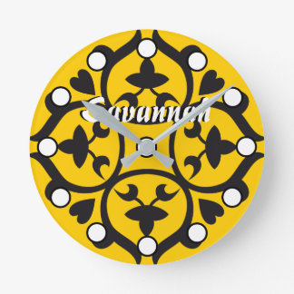 Personalized Mustard Medallion or Any Color Round Clock