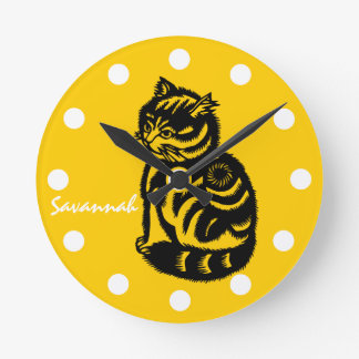Personalized Mustard Yellow Cat Clock-Any Color Round Clock