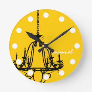Personalized Mustard Yellow Chandelier Bird Clock