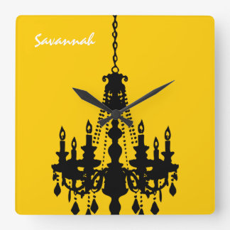 Personalized Mustard Yellow Chandelier Clock