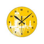 Personalized Mustard Yellow Chandelier Wall Clock