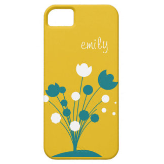 Personalized Mustard Yellow & Teal flower iPhone 5 iPhone SE/5/5s Case