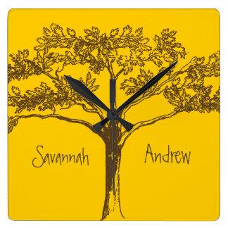 Personalized Mustard Yellow Vintage Tree Clock