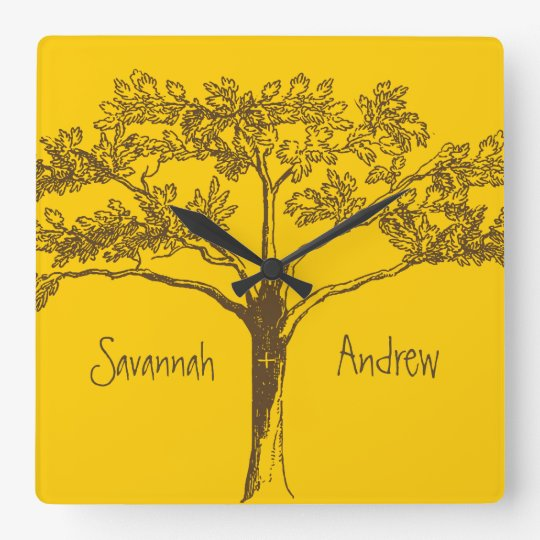 Personalized Mustard Yellow Vintage Tree Clock