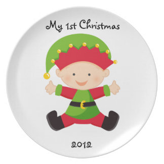 Personalized My First Christmas Plate-Baby in Elf Party Plates