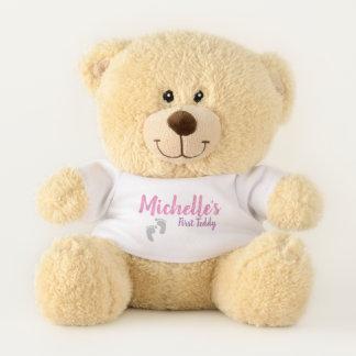 "Personalized ""My First Teddy"" - pink & purple Teddy Bear"