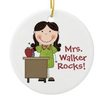 Personalized My Teacher Rocks Christmas Ornament