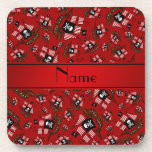 Personalized nam red pirate ships drink coaster