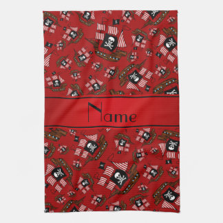 Personalized nam red pirate ships kitchen towel