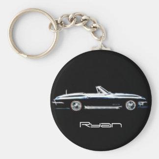 Personalized name 1965 Chevrolet Corvette Stingray Basic Round Button Keychain