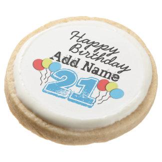 Personalized Name 21 yr Bday Blue - 21st Birthday Round Premium Shortbread Cookie