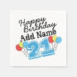 Personalized Name 21 yr Bday Blue - 21st Birthday Paper Napkin