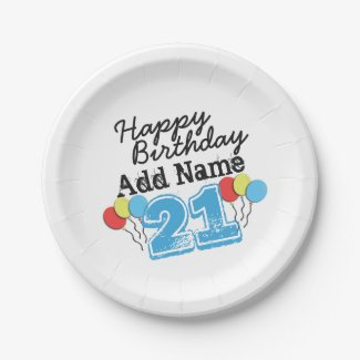 Personalized Name 21 yr Bday Blue - 21st Birthday Paper Plate