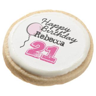 Personalized Name 21 yr Bday Pink - 21st Birthday Round Premium Shortbread Cookie