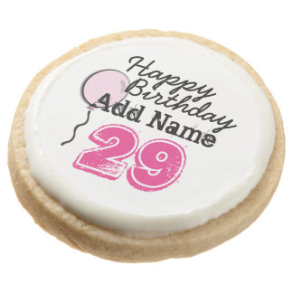 Personalized Name 29 yr Bday Pink - 29th Birthday Round Premium Shortbread Cookie
