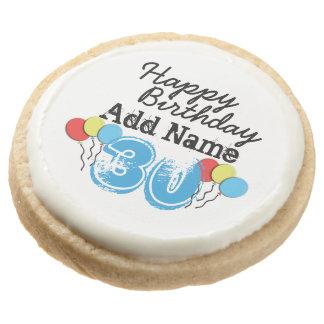 Personalized Name 30 yr Bday Blue - 30th Birthday Round Premium Shortbread Cookie
