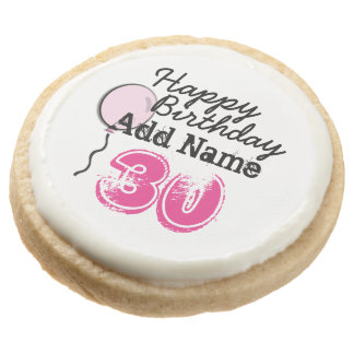 Personalized Name 30 yr Bday Pink - 30th Birthday Round Premium Shortbread Cookie