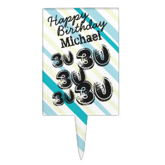 Personalized Name 30 yr Bday Striped 30th Birthday Cake Picks