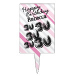 Personalized Name 30 yr Striped Pink 30th Birthday Cake Picks
