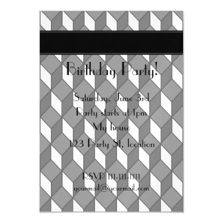 Personalized name 3d black squares magnetic invitations