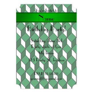 Personalized name 3d green squares 5x7 paper invitation card