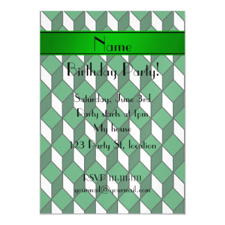 Personalized name 3d green squares magnetic invitations