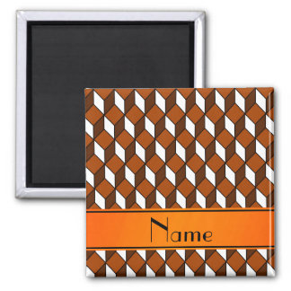 Personalized name 3d orange squares 2 inch square magnet