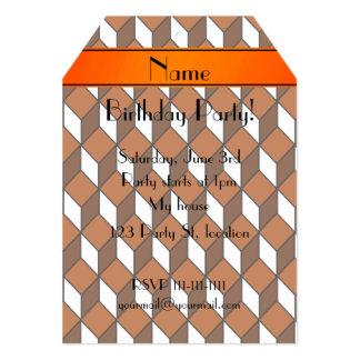 Personalized name 3d orange squares 5x7 paper invitation card