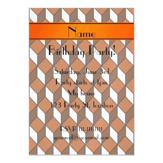 Personalized name 3d orange squares magnetic invitations