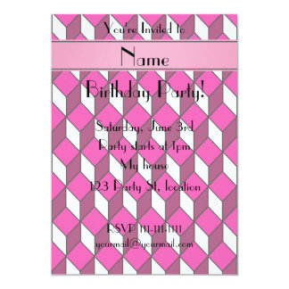 Personalized name 3d pink squares 5x7 paper invitation card