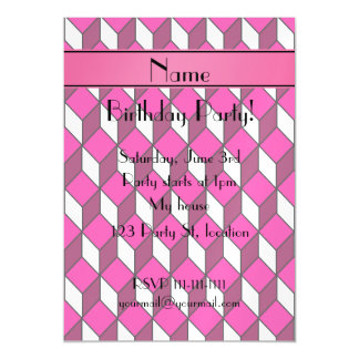 Personalized name 3d pink squares magnetic invitations