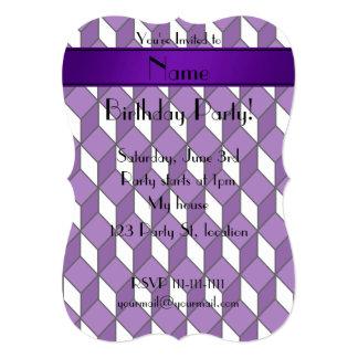 Personalized name 3d purple squares 5x7 paper invitation card