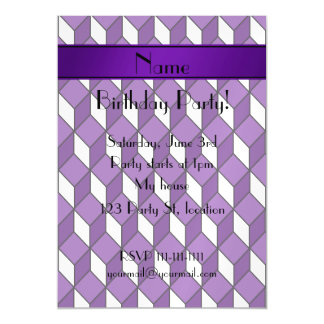 Personalized name 3d purple squares magnetic invitations