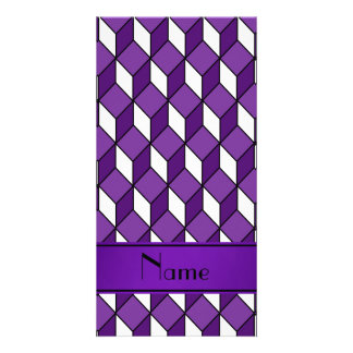 Personalized name 3d purple squares photo card