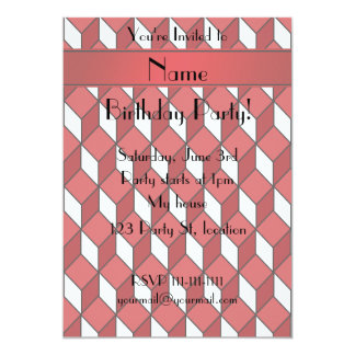 Personalized name 3d red squares 5x7 paper invitation card