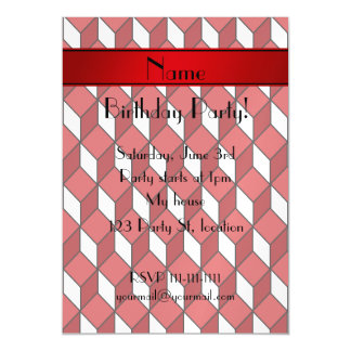 Personalized name 3d red squares magnetic invitations