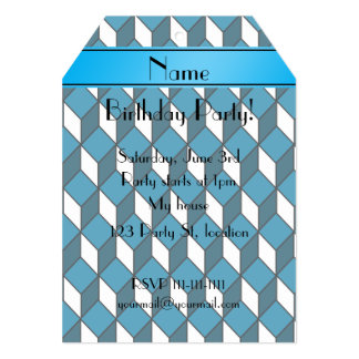 Personalized name 3d sky blue squares 5x7 paper invitation card